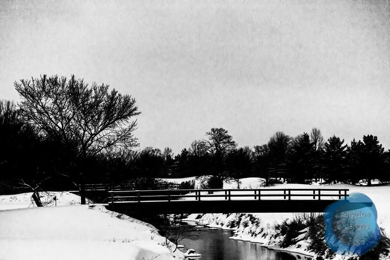 Winter Bridge Scene Black and White
