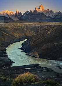 Argentina, Patagonia; A view of Mount Fitz Roy along the Las Vueltas River.