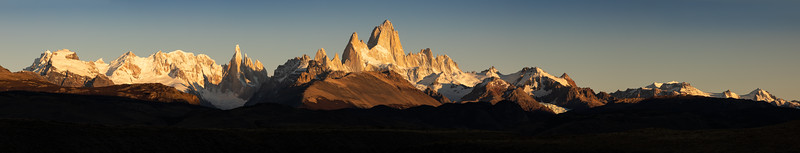 Argentina, Patagonia: A panorama of the Andes at Mount Fitz Roy.