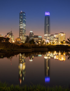 Chile, Santiago: The high-rise buildings in the modern Los Condes area of Santiago.