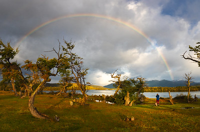 Chile, Patagonia: A rainbow over the Serrano River in Torres del Paine National Park.