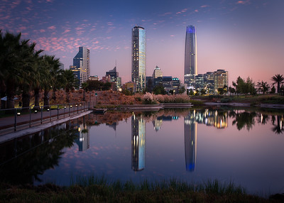 Chile, Santiago: The high-rise buildings at sunset in the modern Los Condes area of Santiago.