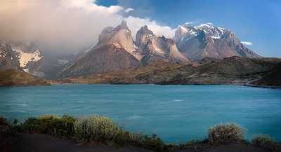Chile, Patagonia: Lake Pehoe at Torres del Paine National Park
