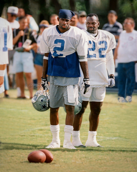 <b>Deion Sanders & Emmitt Smith </b>   Dallas Cowboys Training Camp at Austin, Texas~ August 1996 <b> Format: 35 mm </b>