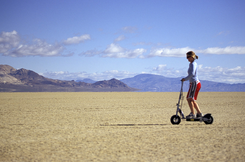 Quincy on moped at Black Rock Desert