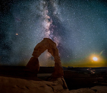 Delicate Arch Under Mars, the Milky Way and Moonset