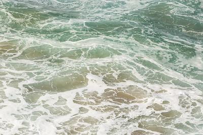 The sea below