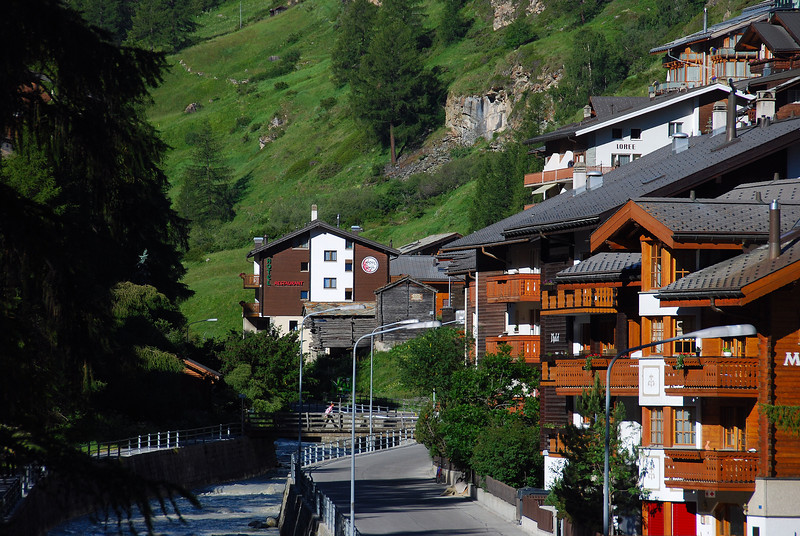 Town of Zermatt. No gas powered vehicles allowed here, only electric cars.