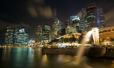 Merlion and Singapore at Night