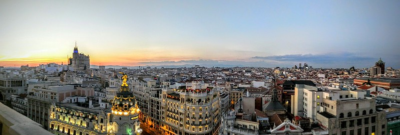 Panoramic Sunset Over Madrid
