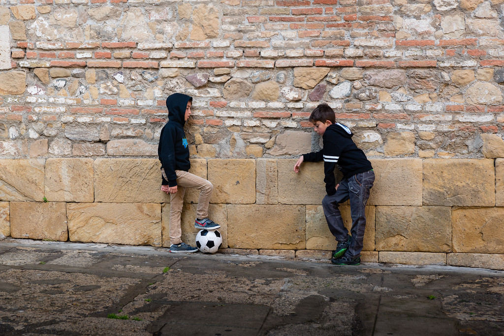 You can always find kids in Europe with a futbol.