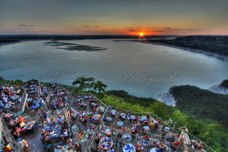 <b> Sunset </b>  Oasis restaurant in Austin, Texas, over looking Lake Travis.  This photo was taken on August 7, 2009. HDR - AEB +/-1 total of 4 exposures processed with Photomatix