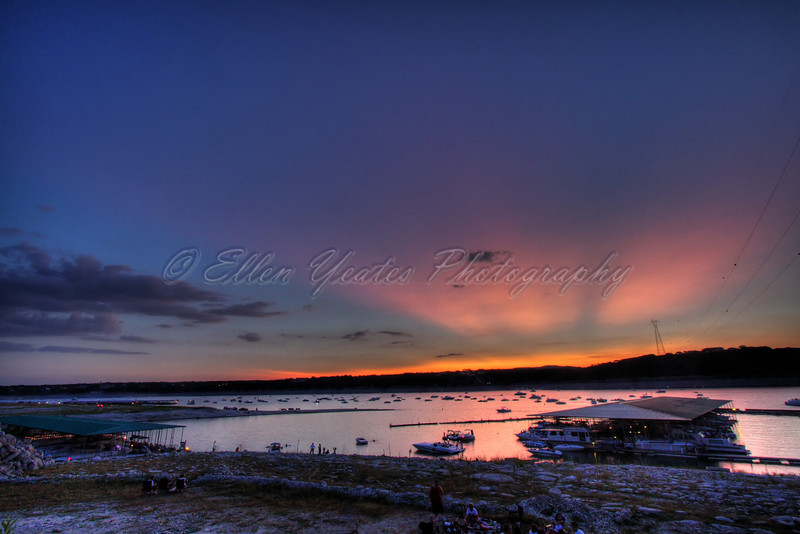Sunset at Lake Travis by Carlos' n Charles resturant.