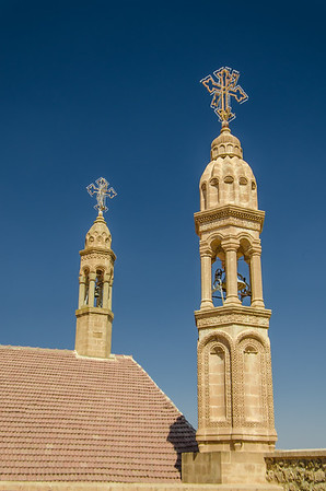 Bell towers at Mor Gabriel 1,700-year-old monastery, Midyat