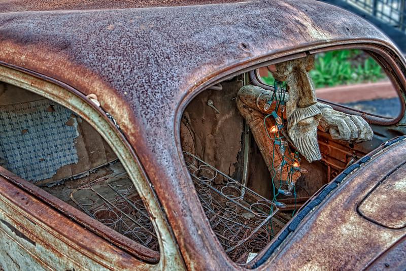 Sculpture  Face inside the VW Bug