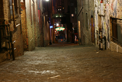 Looking down Post Alley. Gum Wall on the left
