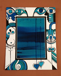 "eye love you // 8""x10"" /watercolor on mat / silk  original"