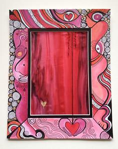 """heart of gold // 8""""x10"""" / watercolor on mat / silk   original"""