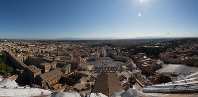 A panorama view over look Rome and St Peters Square from St Peters Basilica