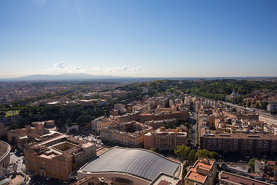 A panorama view over look Rome from St Peters Basilica
