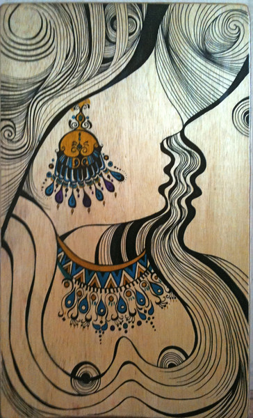 "I love you // wood work /<br /> wood marker and watercolor/ 24""x40""<br /> SOLD"