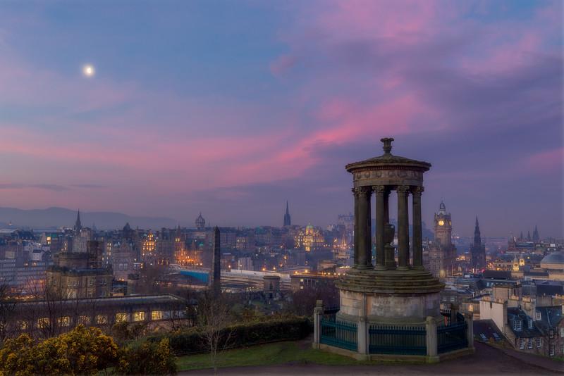 Sunrise and Moonset Over Calton Hill, Edinburgh