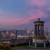 Sunrise and Moonset Over Calton Hill, Edinburgh