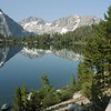 Glass-like Bullfrog Lake in the heart of the Sierra Nevada Mountains in Kings Canyon National Park, California