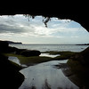 Looking out from a sea cave at Owen's Point on Victoria Island, British Columbia