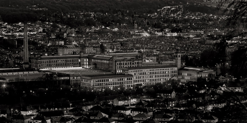 Salts Mill at night in monochrome