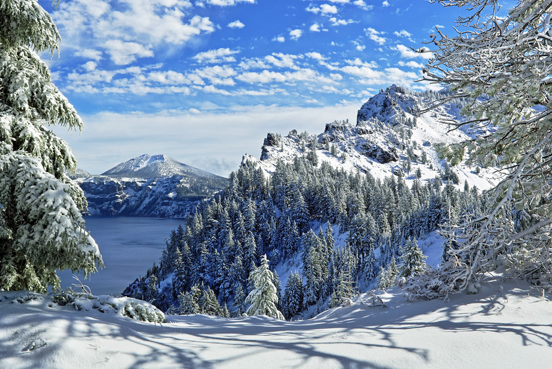 Crater Lake National Park, Oregon.  Because of intense weather it took several attempts to make it to Crater Lake.  I was rewarded though with fresh snow at the end of my trip in late October and this spectacular view.