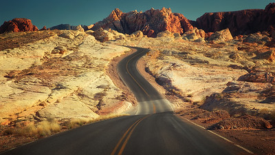 Submission 3.1415.  Valley of Fire: A highway carves through the desert in the Valley of Fire
