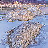 Mono Lake, California.  A beautiful cold winter morning at Mono Lake with a combination of ice Tufa (mineral formation).
