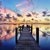 Pineda Inn dock at sunrise on the Indian River Lagoon - near Rockledge, Florida