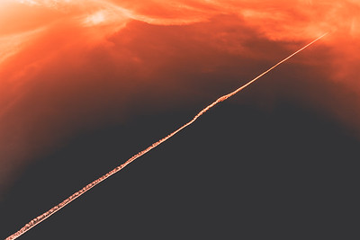 Abstract Liftoff, Jet Trails at Sunset, Bass Lake, CA