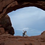 Wedding celebration under the arch Moab Utah