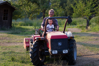 And Daniel enjoying the tractor.