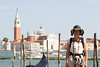 A tired - we walked for hours in the sweltering heat - but beautiful lady in front of San Giorgio Maggiore.