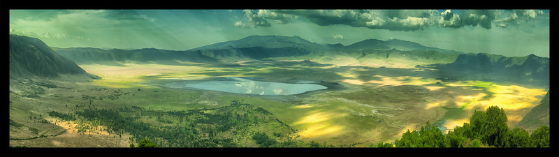 Ngorongoro Crater.  The floor of the crater covers 100 square miles of varied terrain.