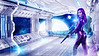 Spaceship interior with view on blue windows 3D rendering