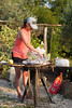 The chef barbecuing up our pesce.