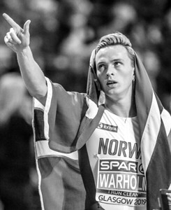 Karsten Warholm celebrates becoming 400 metre European Champion at European Athletics Indoor Championships 2019