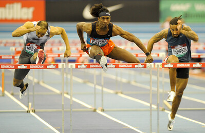 Jarret Eaton wins the mens 60 metre hurdles at the Muller Indoor Grand Prix.