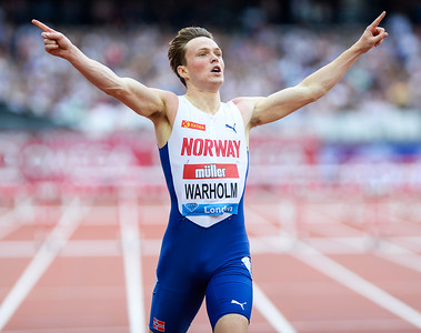 Karsten Warholm breaks meeting record in the 400 metres hurdles at the Muller Anniversary Games 2019