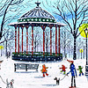 Clapham bandstand snowball fight