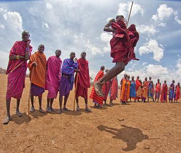 Masai warrior jumping