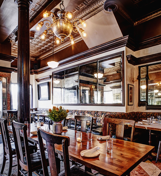 """Interior view, Roux, French bistro and wine bar, 688 Park Avenue, Rochester, NY 14607. Photo by Brandon Vick Photography LLC, <a href=""""http://brandonvickphotography.com/"""">http://brandonvickphotography.com/</a>"""