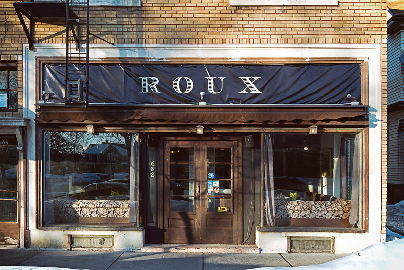 """Exterior view, Roux, French bistro and wine bar, 688 Park Avenue, Rochester, NY 14607. Photo by Brandon Vick Photography LLC, <a href=""""http://brandonvickphotography.com/"""">http://brandonvickphotography.com/</a>"""
