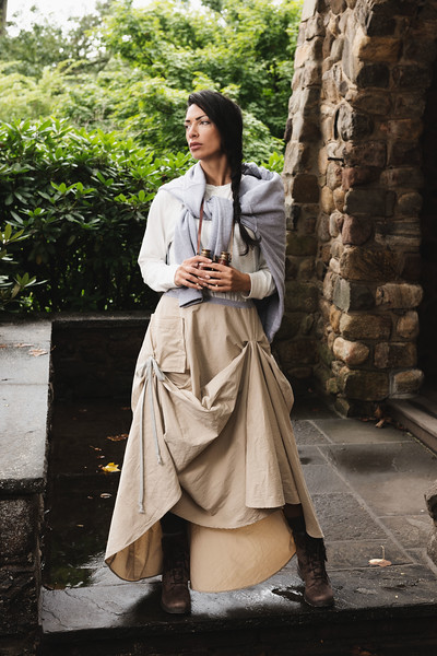Maja wears clothing from ìSofistafunk's Wonderland,î the F/W1718 campaign of fashion designer Sofistafunk in Essex Fells, New Jersey.  Styled by Arlinda M. for Sofistafunk The Skirt Co. https://sofistafunk.com/ Hair and makeup by Maja. Photo by Brandon Vick, http://www.brandonvickphotography.com/