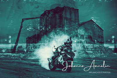 Old silo and a biker boy